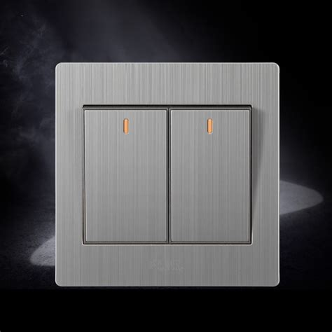 stainless wall switch two light switch with indicator