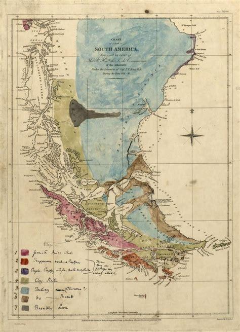 geological map  south america  charles darwin