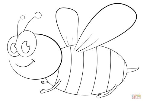 cartoon bee coloring page  printable coloring pages