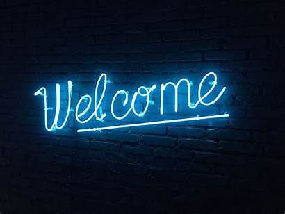 Neon Welcome Signs Lettering Behance Words London