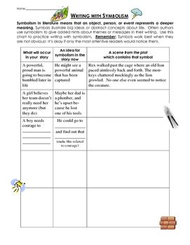 writing with symbolism lesson and practice worksheet page by stephen cbell