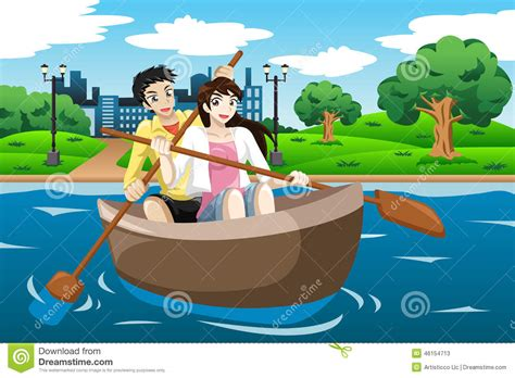 Row En Boat by Happy Rowing A Boat Stock Vector Image Of
