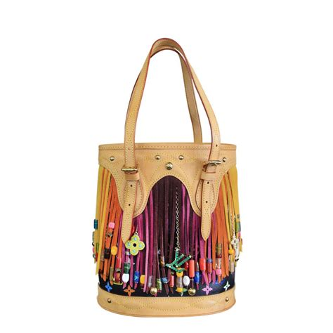 louis vuitton multicolore canvas fringe bucket bag  stdibs