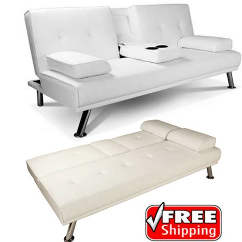 faux leather settee white faux leather sofa bed click clack settee 2 3