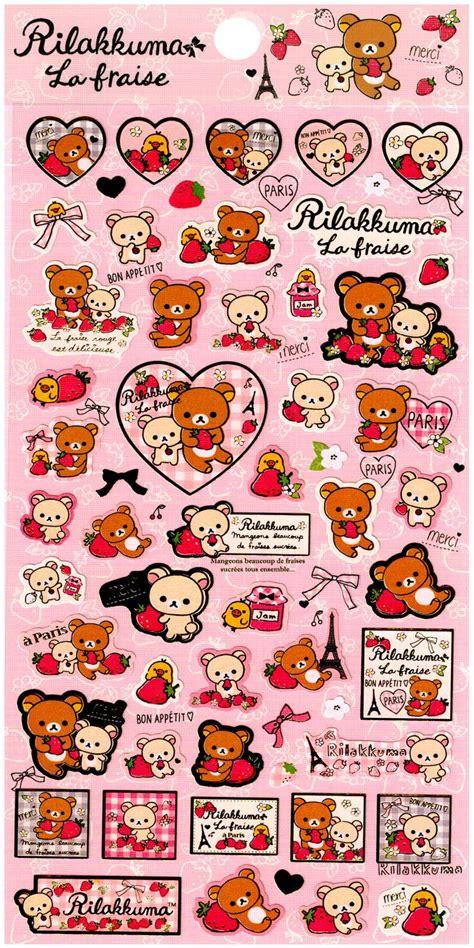 san  rilakkuma la fraise sticker sheet strawberries
