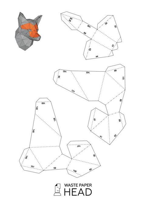 papercraft fox head printable diy template