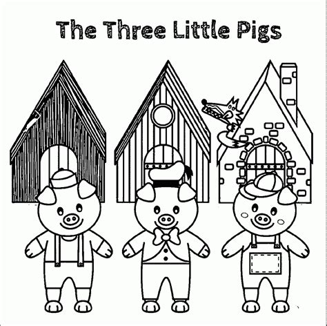 Three Little Pigs Coloring Pages Printable to Print