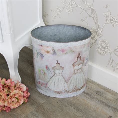 shabby chic waste paper bin mannequin tin waste paper bin shabby vintage chic storage home pretty girly 5055630929431 ebay