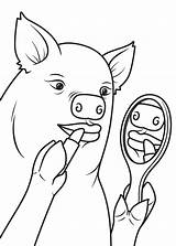 Pig Outline Lipstick Coloring Drawing Pages Head Template Deer Lips Printable Getdrawings Popular sketch template