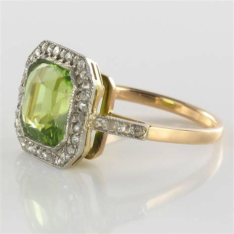 1930s deco peridot and ring for sale at 1stdibs