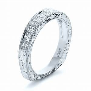 custom princess cut diamond women39s wedding band 1134 With womans wedding rings