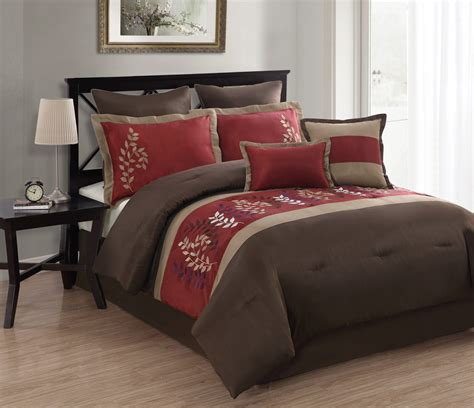 8 piece queen tuscany embroidered comforter set burgundy
