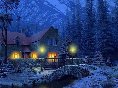 3d Winter Animated Wallpaper - 3d snowy cottages screensaver free animated screensaver