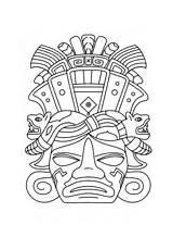 Mayan Mask Coloring Maya Drawing Pages Ancient Masks Printable Tiki Aztec Template Pyramid Calendar Chichen Itza Opera Inca Mayans Coloriage sketch template