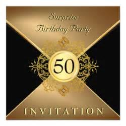 gold black 50th birthday in 5 25x5 25 square paper invitation card zazzle