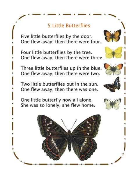 Song Butterfly 5 Little Butterflies Song Song And Poem Book Pinterest