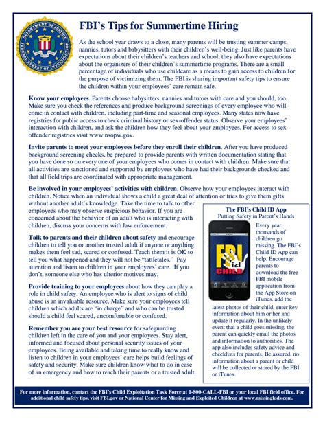 Home Design Tips Pdf by Fbi Summer Safety Tips For Employers 2014 Fbi