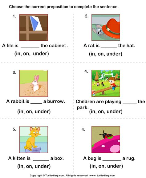 preposition worksheets for grade 1 with answers