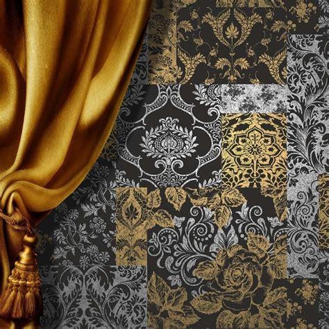 vymura brocade patchwork wallpaper silver gold black