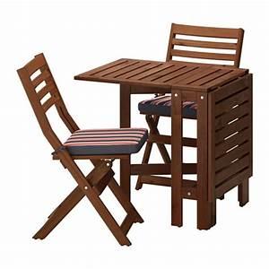 Ikea Gartenmöbel äpplarö : pplar table and 2 folding chairs outdoor pplar brown stained eker n black ikea ~ Watch28wear.com Haus und Dekorationen
