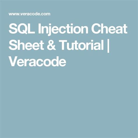sql injection sheet tutorial veracode 25 best ideas about sql injection sql commands sql year and python mysql