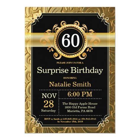 Surprise 60th Birthday Invitation Black and Gold Zazzle com