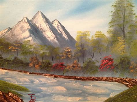 This Is A Painting I Did Of Mountains And A Raging River