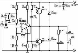 world technical 40 watt power amplifier circuit with tda2030 With 40w audio amplifier