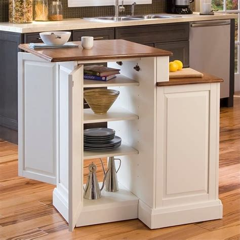 Two Tier Kitchen Island In White And Oak  501094