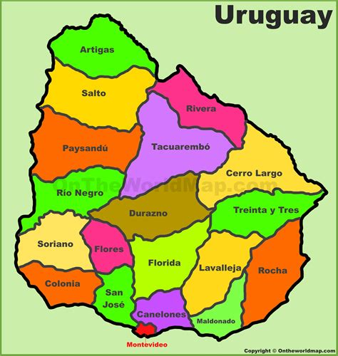 administrative divisions map  uruguay