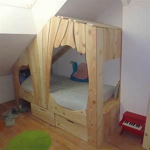Fabriquer Un Toboggan : lit cabane en bois sur mesure pour enfant abra ma cabane ~ Mglfilm.com Idées de Décoration