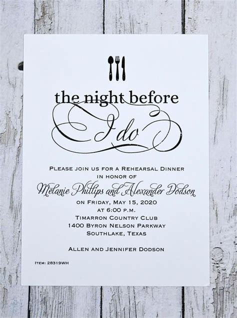 Rehearsal Dinner Invitation Set starts with 25 cards