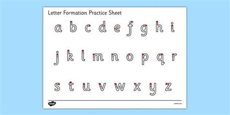 letter formation alphabet handwriting practice sheet
