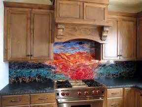 Murals For Kitchen Backsplash Glass Mosaic Sunset Mural Designer Glass Mosaics Designer Glass Mosaics