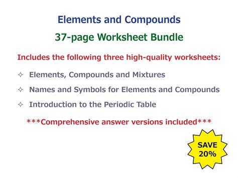 elements compounds mixtures worksheet free printables