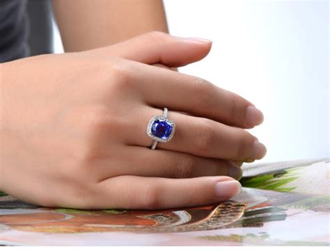 antique  carat cushion cut sapphire  diamond halo engagement ring  white gold jeenjewels