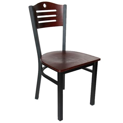black metal frame chair with mahogany wood back and seat