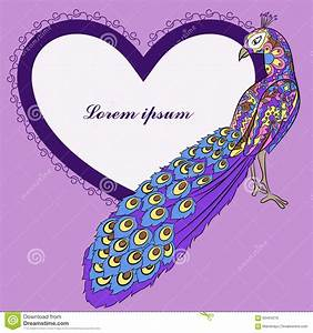 Background With Peacock And Heart Shape Banner Stock ...