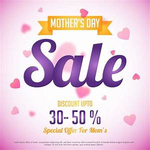 Mother's Day Sale with special discount offer, Pink hearts ...