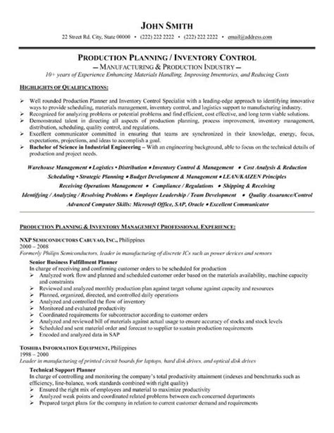professional resume template   production planner
