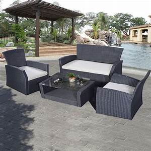 Goplus 4pcs outdoor patio furniture set wicker garden lawn for Outdoor patio decor