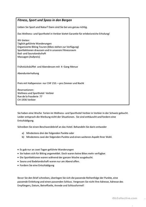 beschwerdebrief telc deutsch  training arbeitsblatt