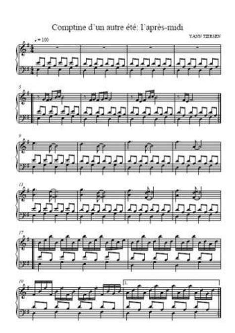 partition piano comptine   autre ete