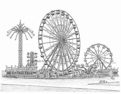 Ferris Carnival Wheel Drawings Park Amusement Sketches