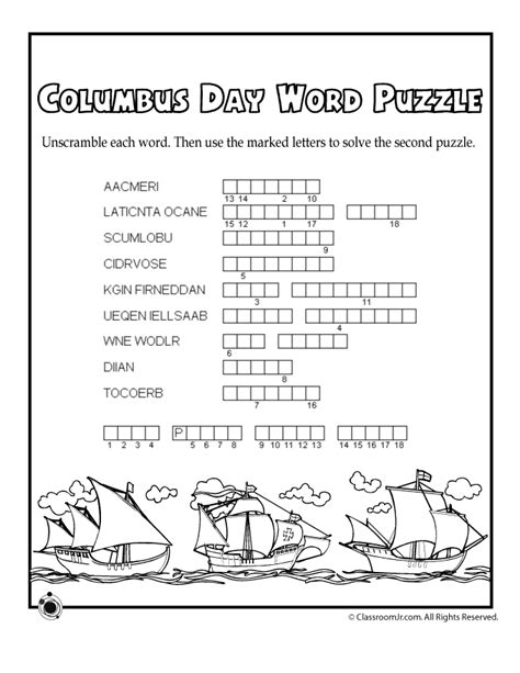 Columbus Day Word Puzzle  Woo! Jr Kids Activities