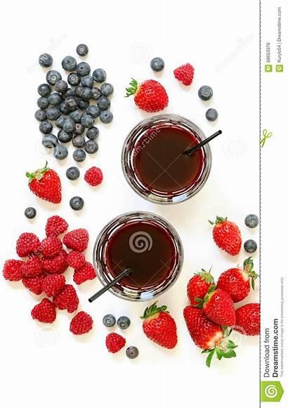 Juice Raspberries Blueberries Strawberries Glasses Isolated