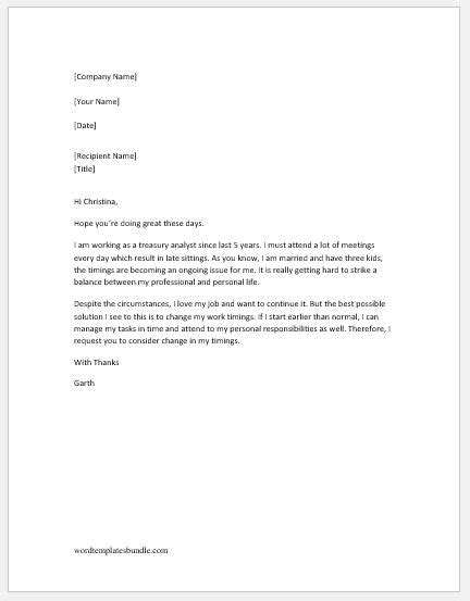 request letter  change  shift timing formal word