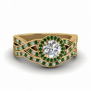Round cut diamond vintage intertwined circle engagement for Emerald cut diamond wedding ring sets