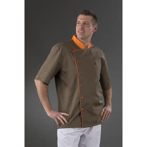 acheter veste de cuisine veste de cuisine manches courtes moize marron et orange
