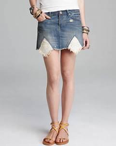 Bloomingdales Size Chart Free People Skirt Rugged Ripped Denim Handkerchief Hem In